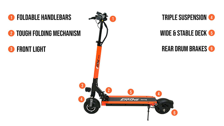 Emove Touring Electric Folding Scooter with Seat
