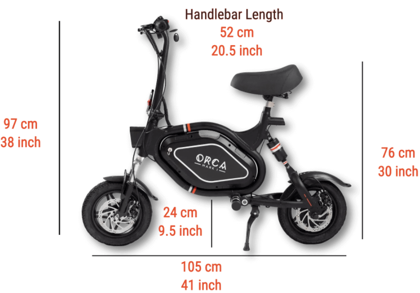 Best Folding Electric Scooter With Seat For Adults - ORCA Mark I dimnesions
