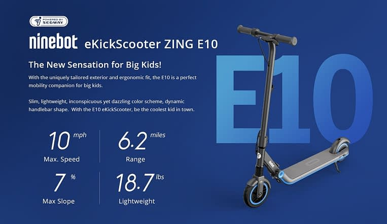 Ninebot ZING E10 - best electric scooter for 8 year old