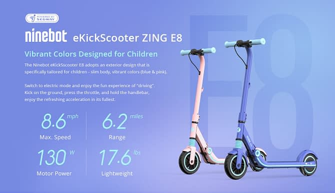 Ninebot Segway ZING E8 Electric Riding Scooter for Kids